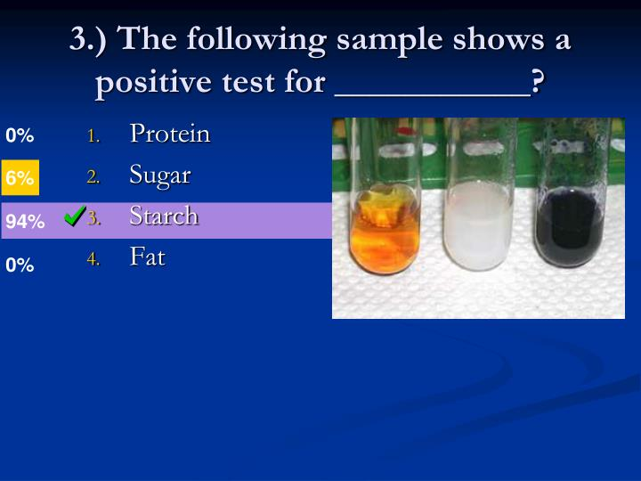 3.) The following sample shows a positive test for ___________?
