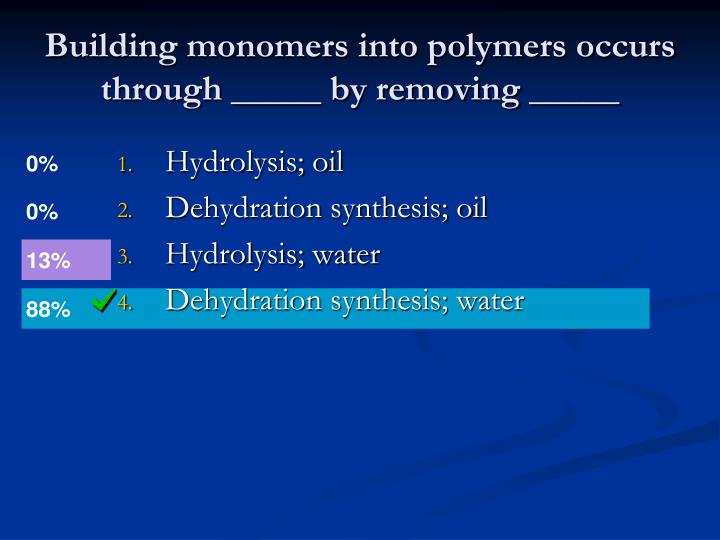 Building monomers into polymers occurs through _____ by removing _____