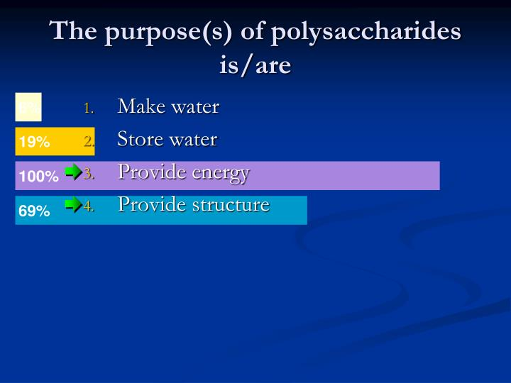 The purpose(s) of polysaccharides is/are