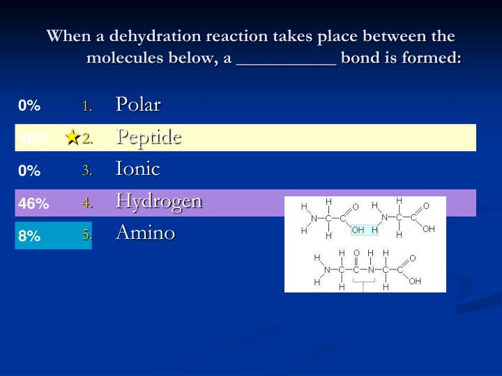 When a dehydration reaction takes place between the molecules below, a ___________ bond is formed:
