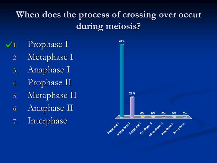 When does the process of crossing over occur during meiosis?