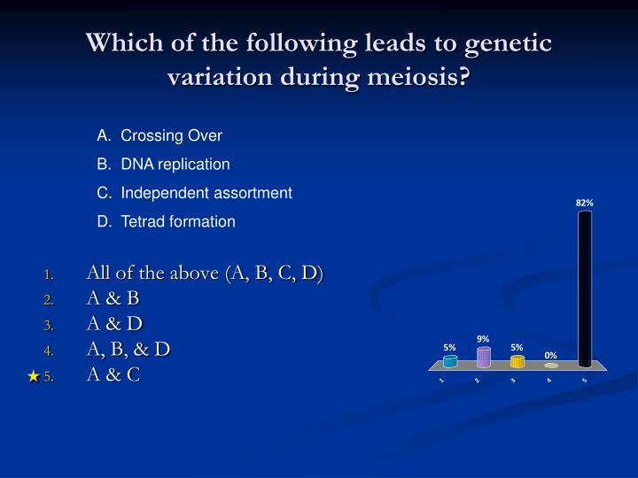 Which of the following leads to genetic variation during meiosis?