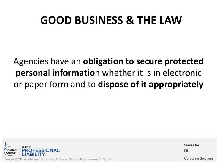 GOOD BUSINESS & THE LAW