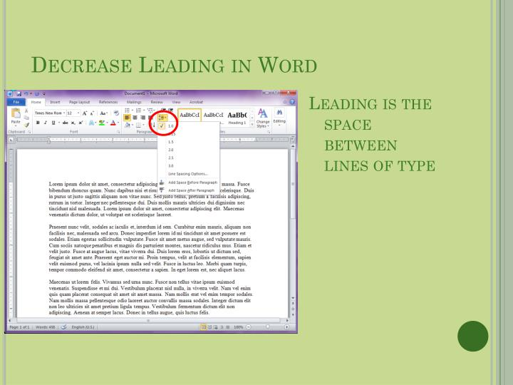 Decrease Leading in Word