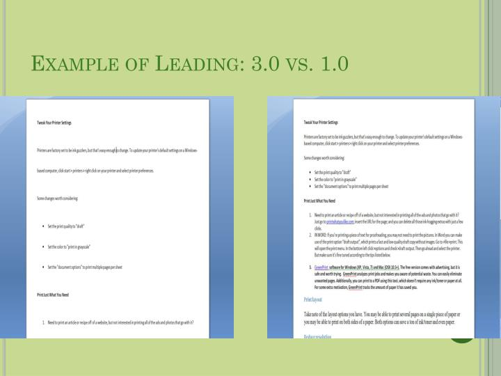 Example of Leading: 3.0 vs. 1.0