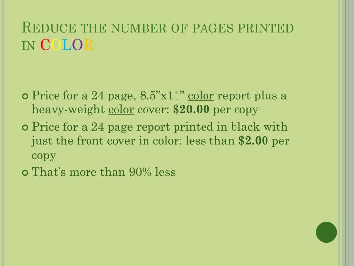 Reduce the number of pages printed in