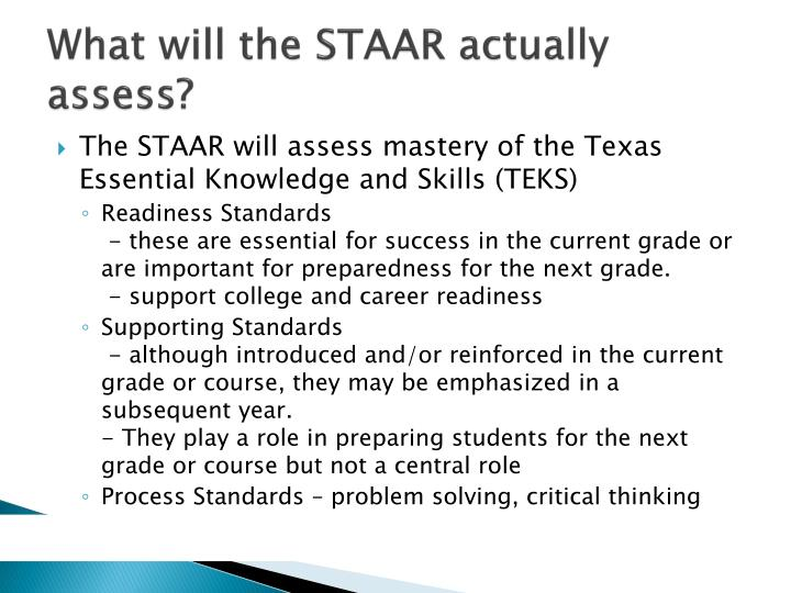 What will the STAAR actually assess?
