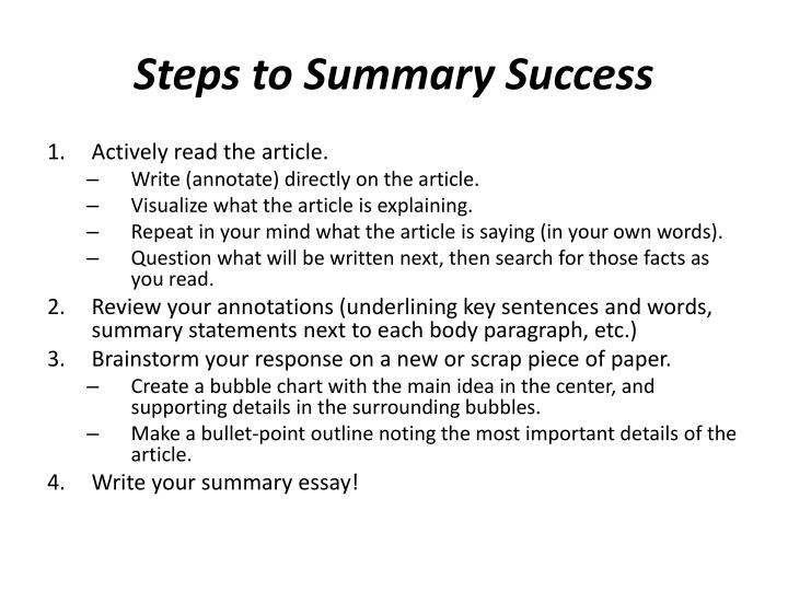 Steps to Summary Success