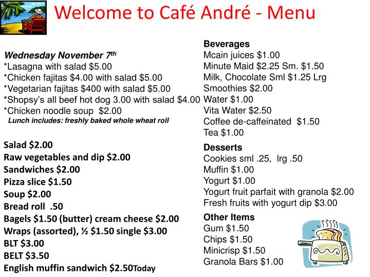 Welcome to caf andr menu