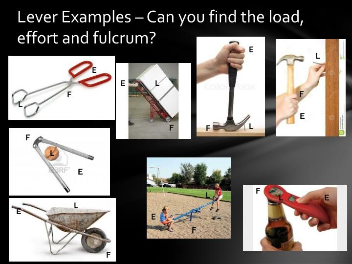 Lever Examples – Can you find the load, effort and fulcrum?