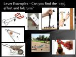 lever examples can you find the load effort and fulcrum