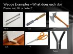 wedge examples what does each do pierce cut lift or fasten