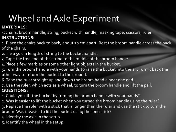 Wheel and Axle Experiment