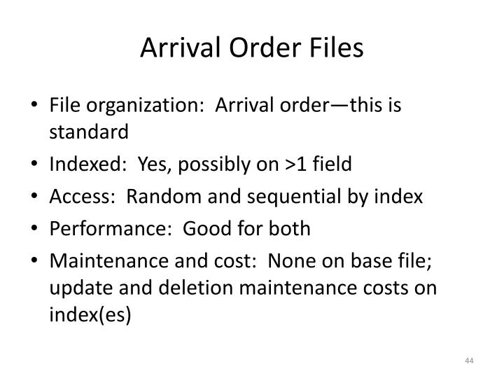 Arrival Order Files