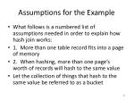 assumptions for the example