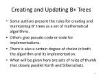 creating and updating b trees