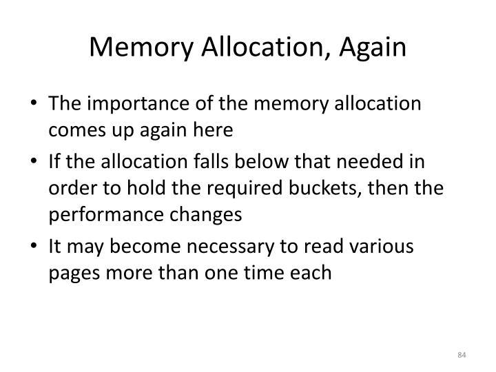 Memory Allocation, Again