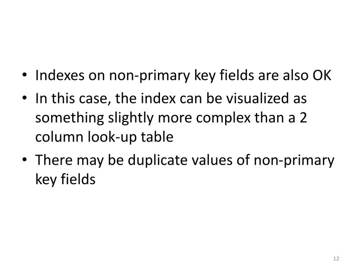 Indexes on non-primary key fields are also OK