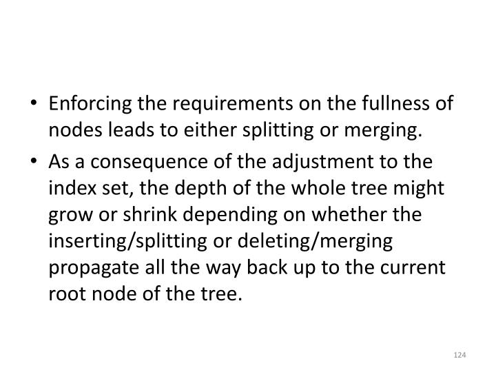 Enforcing the requirements on the fullness of nodes leads to either splitting or merging.