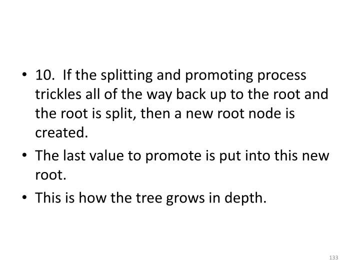 10.  If the splitting and promoting process trickles all of the way back up to the root and the root is split, then a new root node is created.