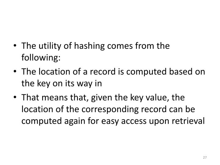 The utility of hashing comes from the following: