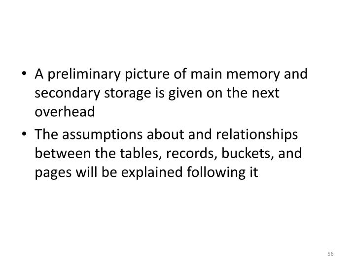 A preliminary picture of main memory and secondary storage is given on the next overhead
