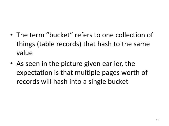 "The term ""bucket"" refers to one collection of things (table records) that hash to the same value"