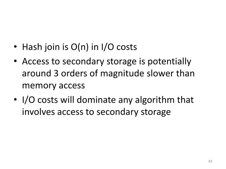 Hash join is O(n) in I/O costs