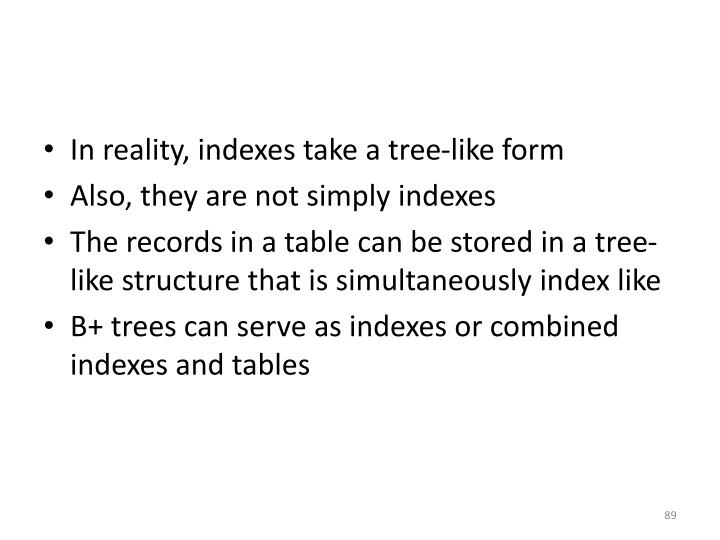 In reality, indexes take a tree-like form