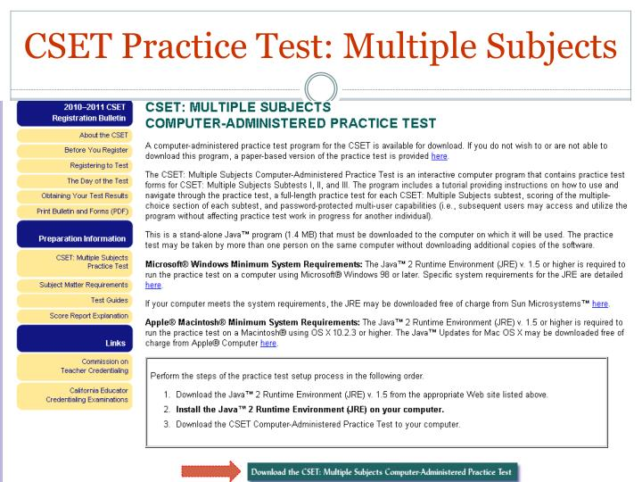 CSET Practice Test: Multiple Subjects