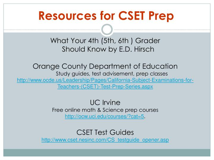 Resources for CSET Prep