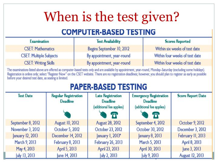 When is the test given?