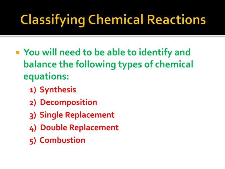 Classifying Chemical Reactions