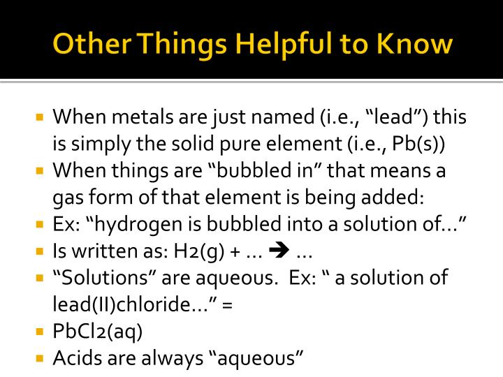 Other Things Helpful to Know