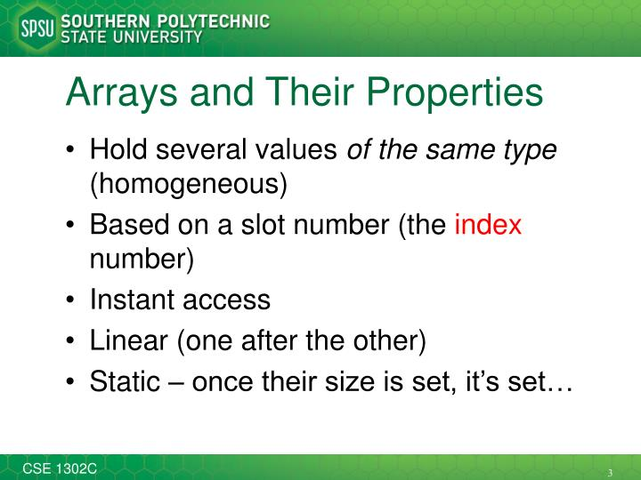 Arrays and their properties