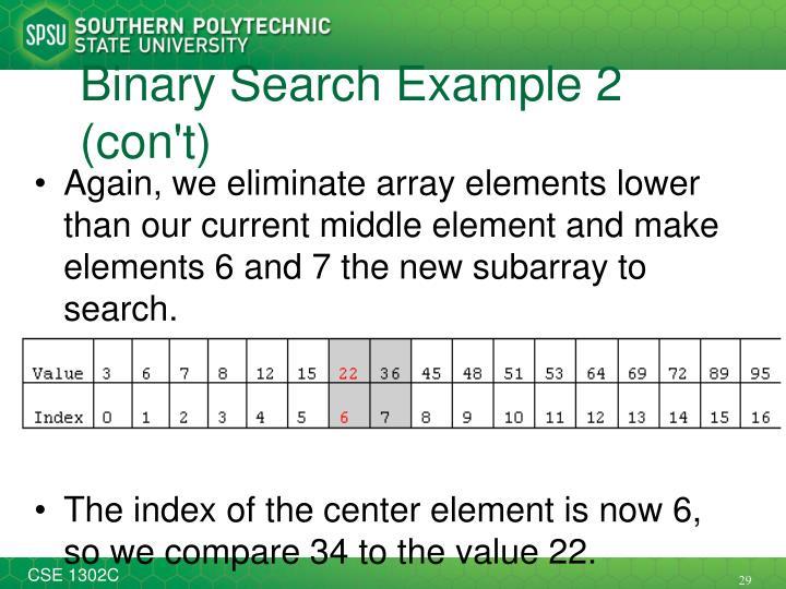 Binary Search Example 2 (con't)