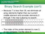 binary search example con t