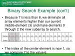 binary search example con t1