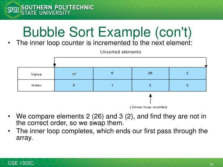 Bubble Sort Example (con't)