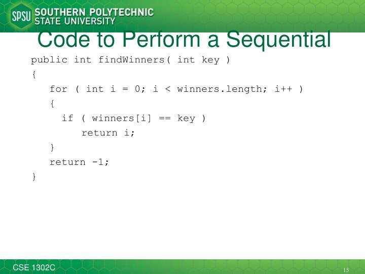 Code to Perform a Sequential Search