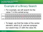 example of a binary search