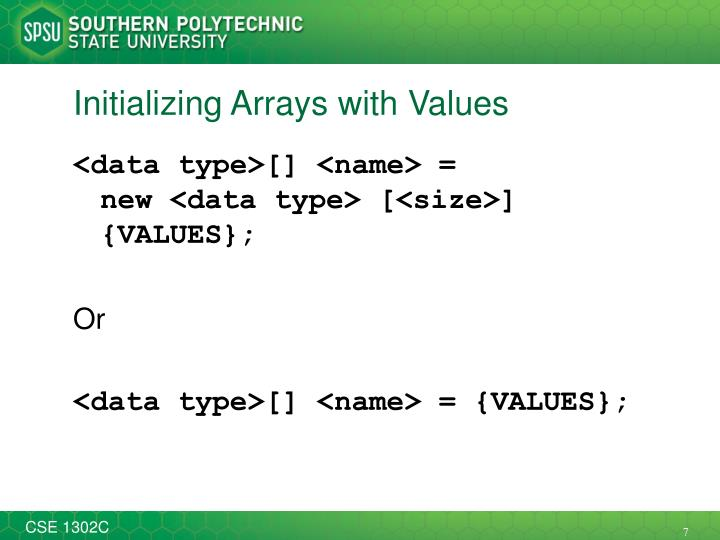 Initializing Arrays with Values