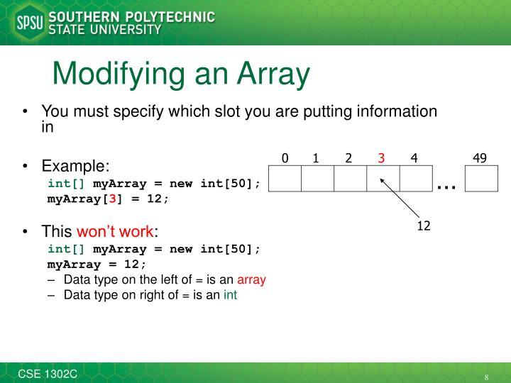 Modifying an Array
