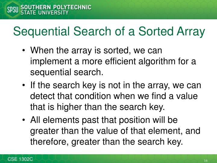 Sequential Search of a Sorted Array