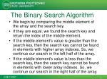 the binary search algorithm