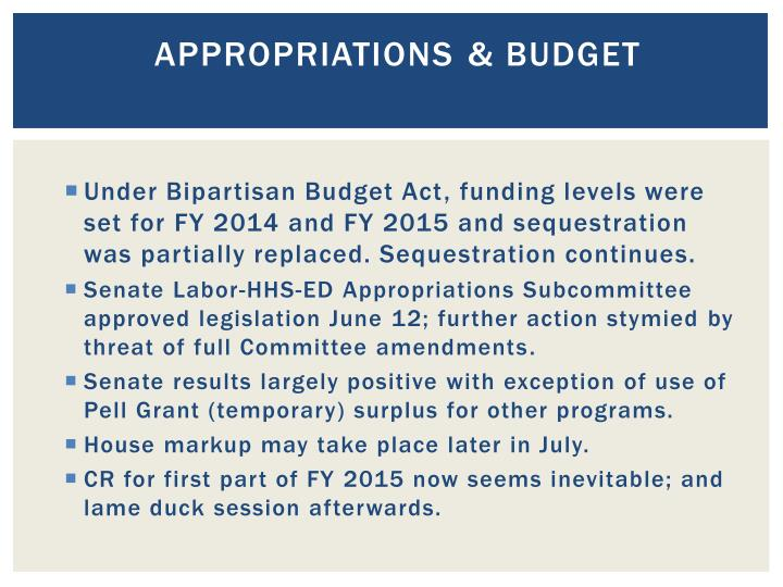 Appropriations budget