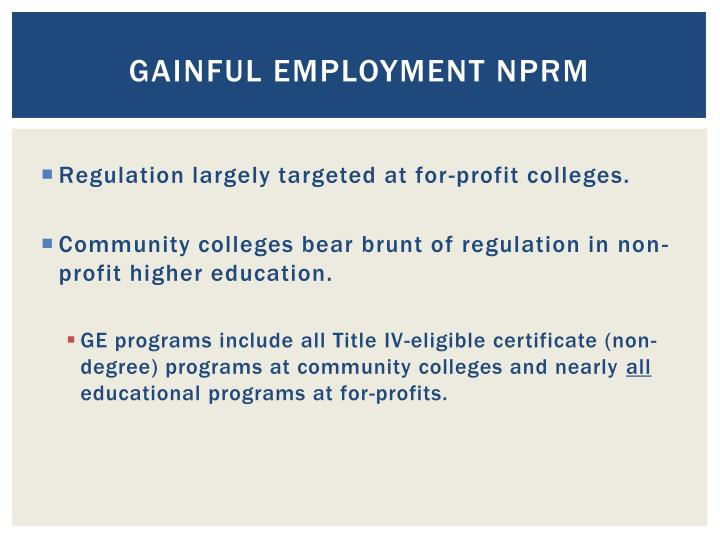 Gainful Employment NPRM