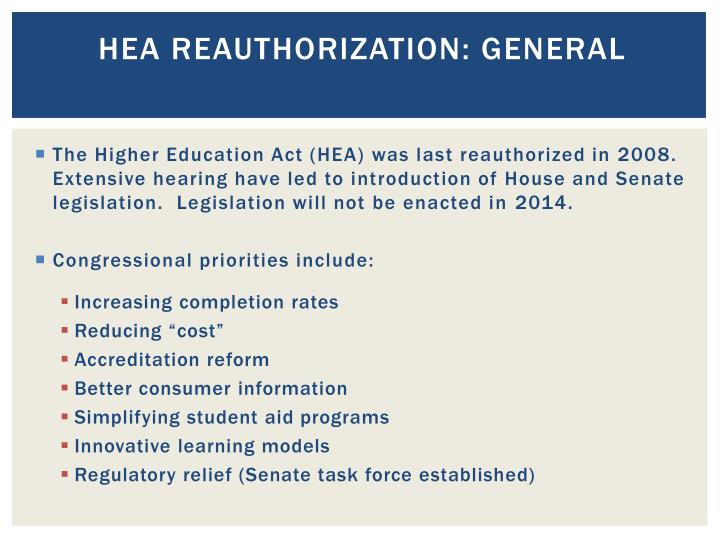 HEA Reauthorization: general