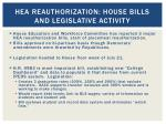 hea reauthorization house bills and legislative activity