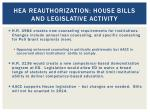 hea reauthorization house bills and legislative activity1
